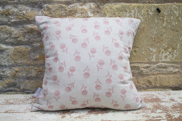 Sam Wilson Pink Clover Square Linen Cushion