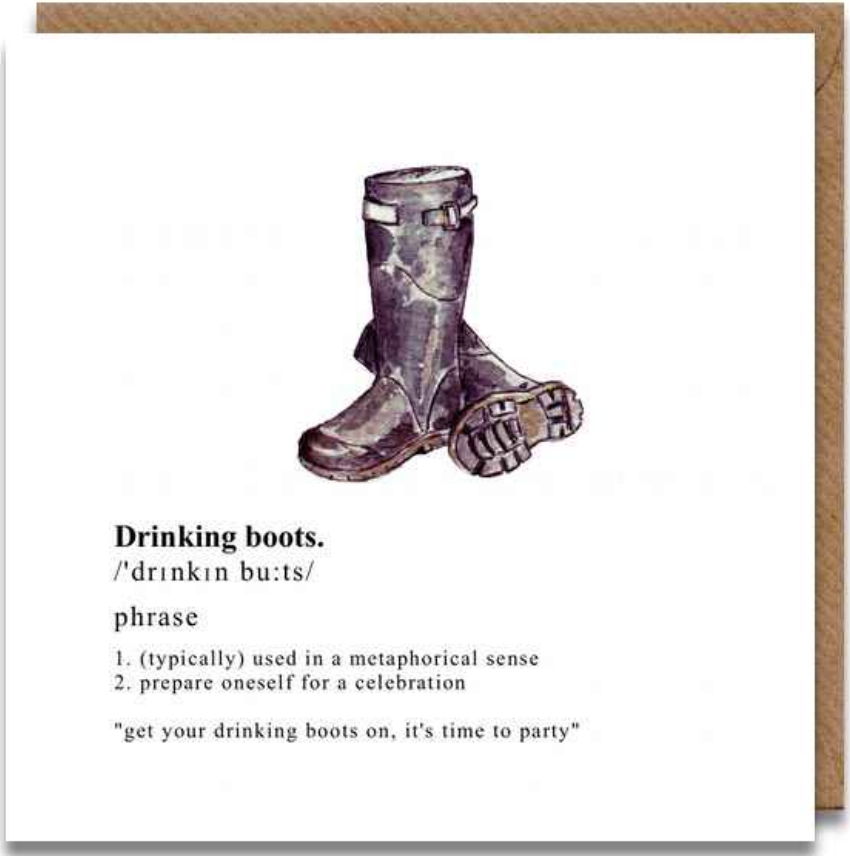 Toasted Crumpet Drinking Boots Card