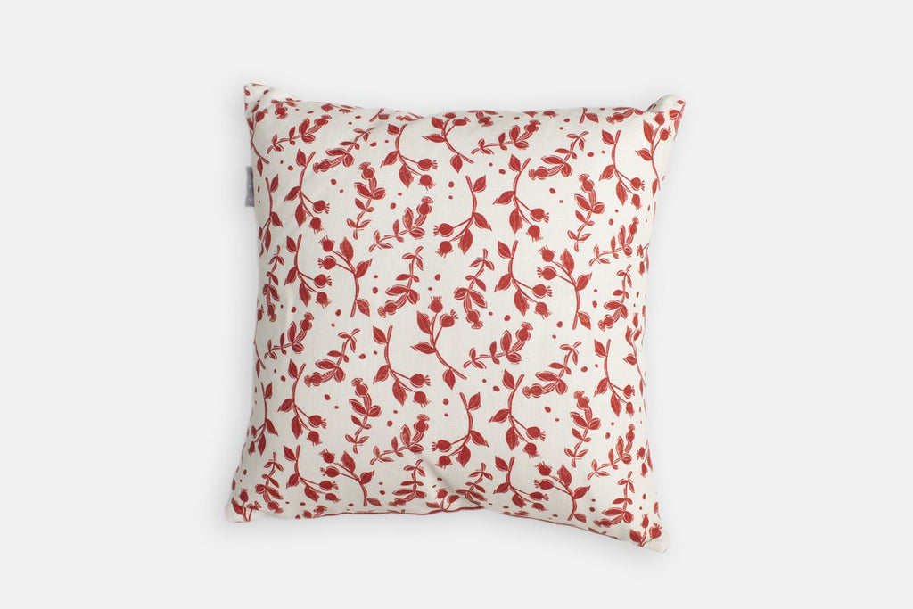 Sam Wilson Red Rosehip Linen Cushion - NOW 25% OFF