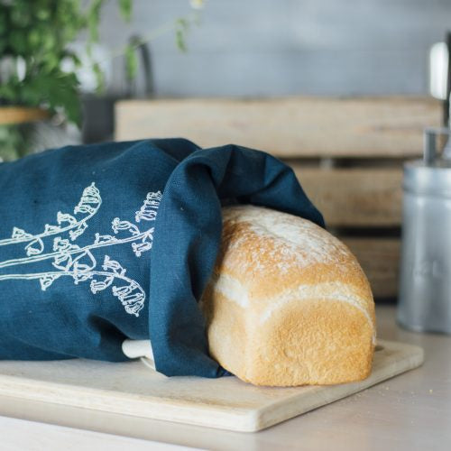 Helen Round Navy Linen Bread Bag Bluebell