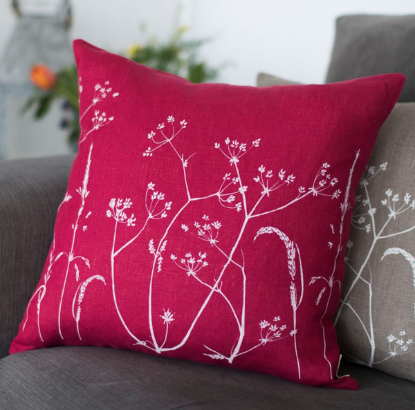 Helen Round Hedgerow Raspberry Cushion - January Cushion Sale: 20% OFF