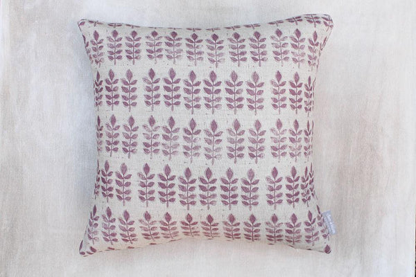 Sam Wilson Aubergine Leaf Square Linen Cushion - January Cushion Sale: 20% OFF
