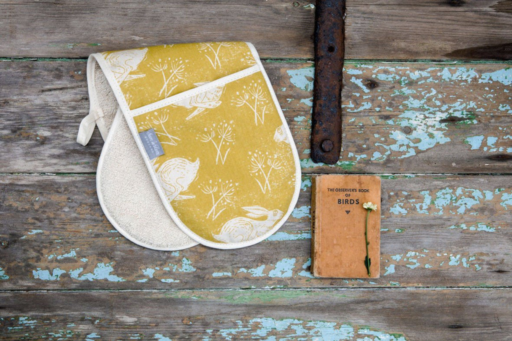 Sam Wilson Headlong Hare Ochre Oven Gloves