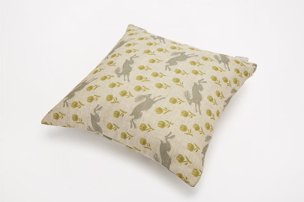 Sam Wilson Running Hare Plain/Green Cushion - NOW 20% OFF