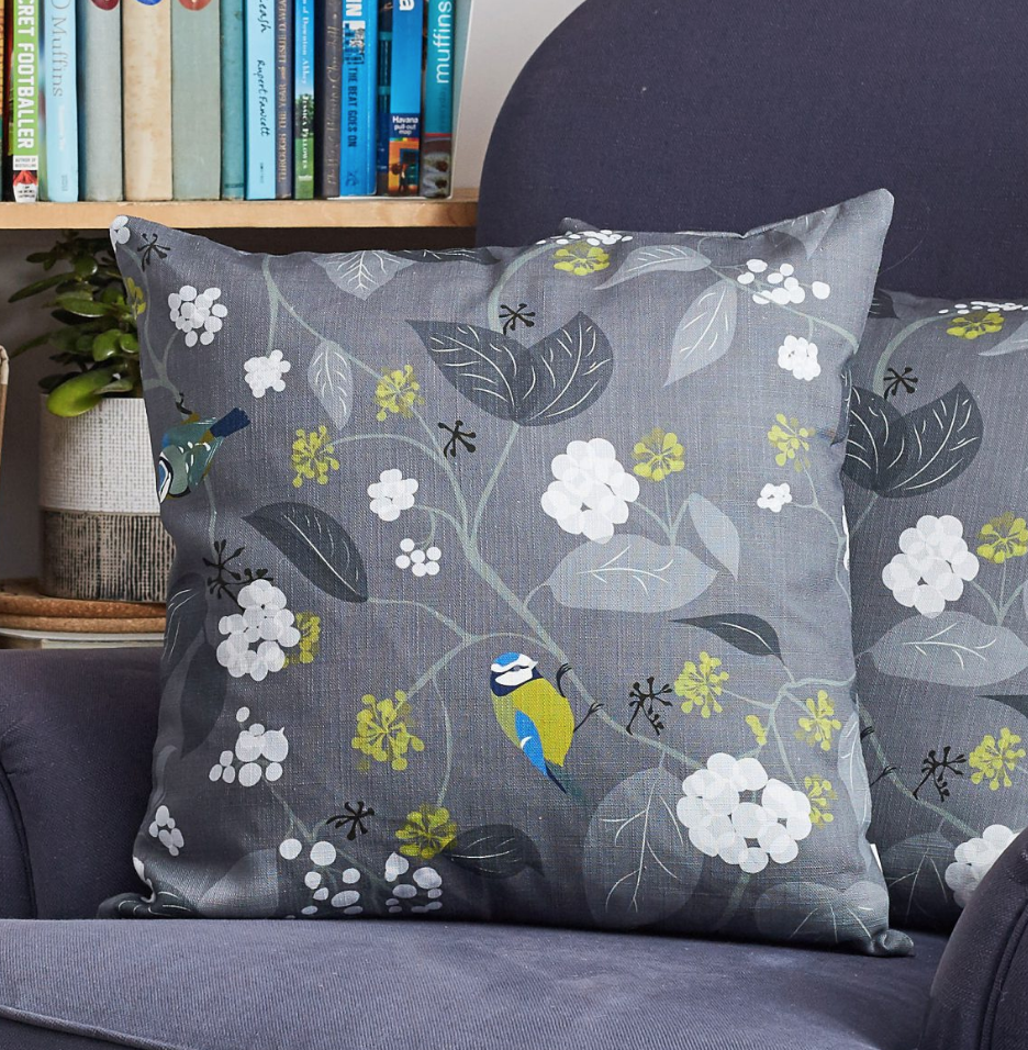 Lorna Syson Cushion Spring Ivy Slate - NOW 40% OFF