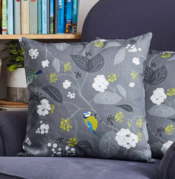 Lorna Syson Cushion Spring Ivy Slate - NOW 30% OFF
