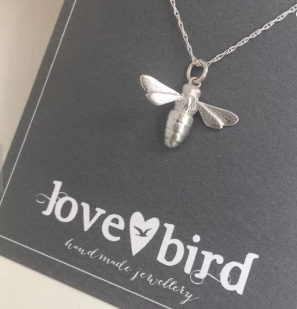 Lovebird Bee Necklace Oxidised Silver