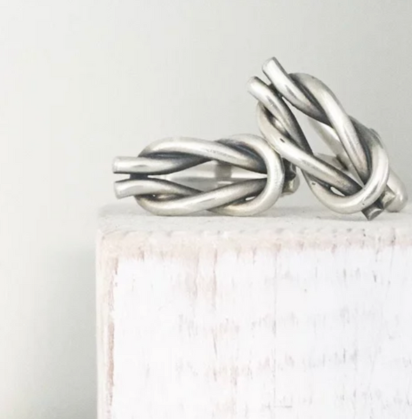 Lovebird Reef Knot Silver Cufflinks - NOW 20% OFF