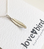 Lovebird Feather Necklace with Yellow Gold