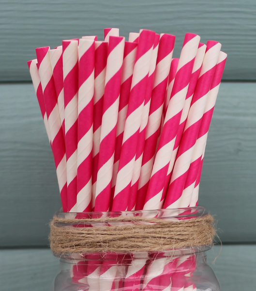 Paper Straws Stripes - Selection Of Colours - NOW 20% OFF