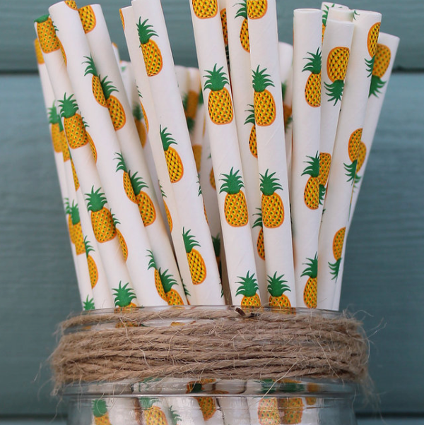 Paper Straws Prints Pineapple