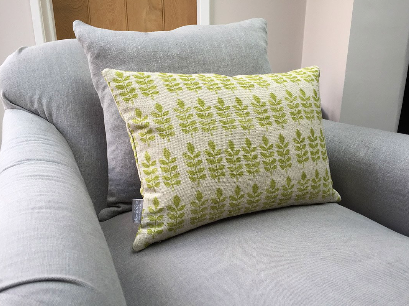 Sam Wilson Green Leaf Print Rectangle Linen Cushion - NOW 40% OFF