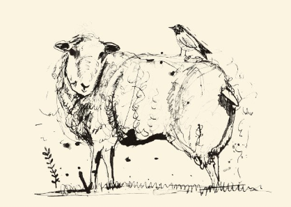 Sam Wilson Sheep & Bird Greetings Card