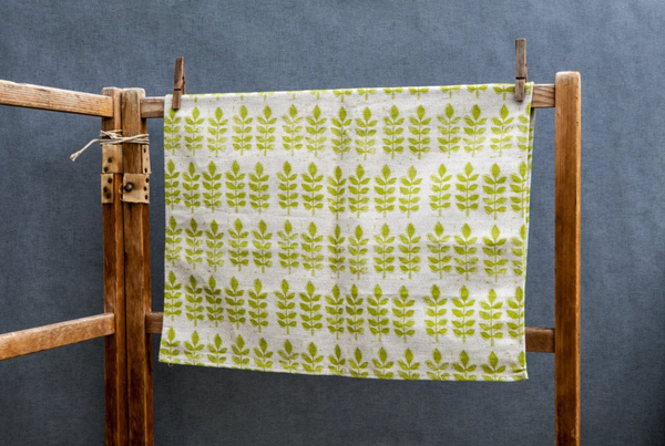 Sam Wilson Green Leaf Linen Tea Towel - NOW 25% OFF