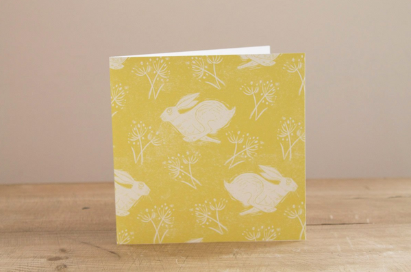 Sam Wilson Headlong Hare Yellow Greetings Card