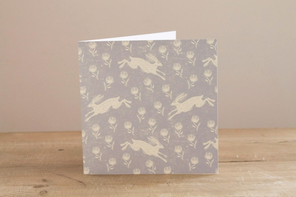 Sam Wilson Running Hare Grey Greetings Card