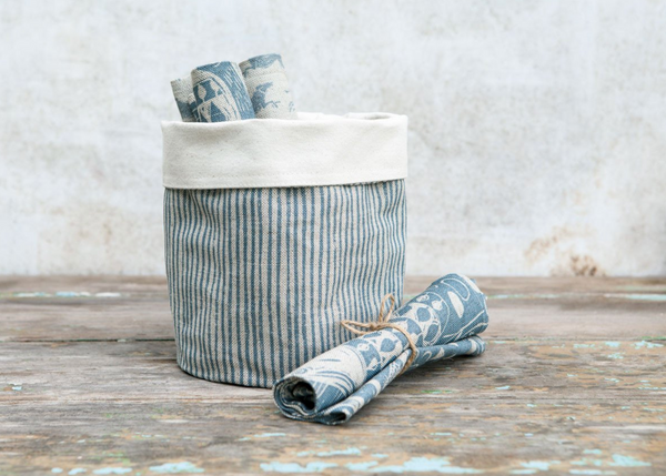 Sam Wilson Blue Stripe Linen Pot Bag - NOW 20% OFF