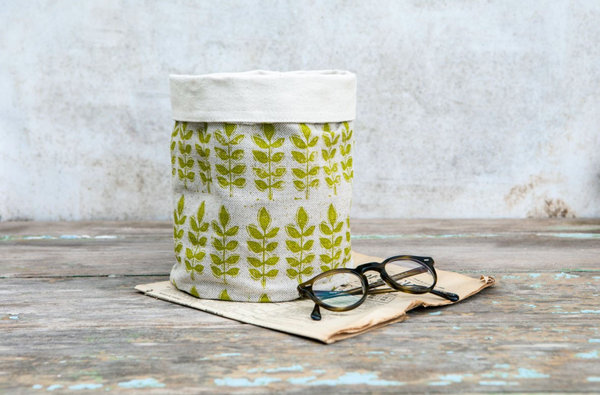 Sam Wilson Green Leaf Linen Pot Bag - NOW 40% OFF