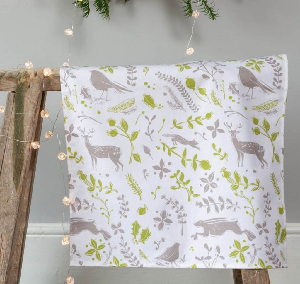 Sam Wilson Robin & Reindeer Green Christmas Tea Towel