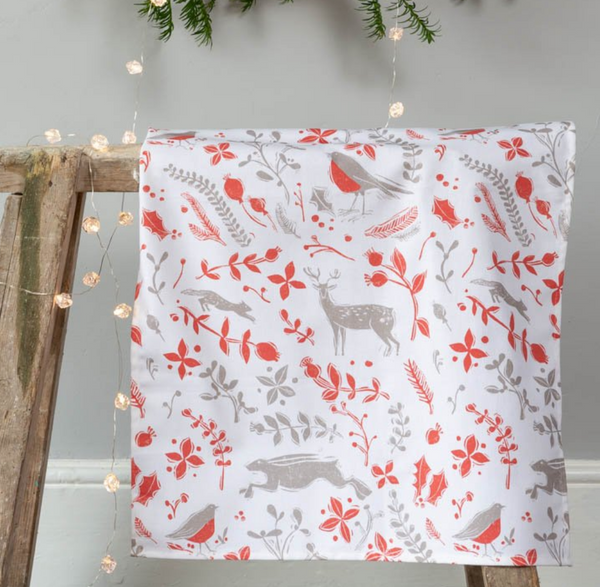 Sam Wilson Robin & Reindeer Red Christmas Tea Towel