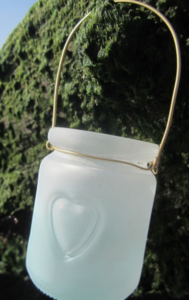 Small mint heart jar votive
