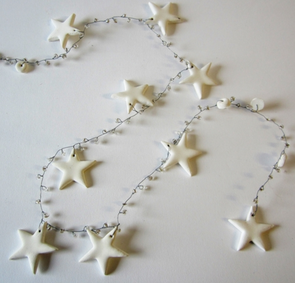 White star and bead garlands