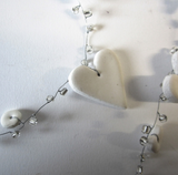 White heart and bead garlands