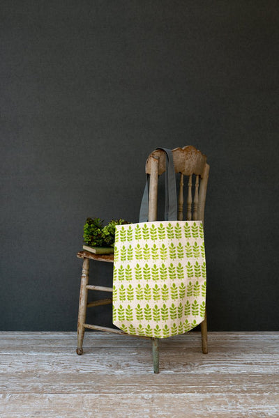 Sam Wilson Green Leaf Tote Canvas Bag - NOW 40% OFF