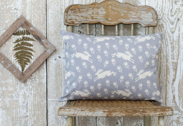 Sam Wilson Running Hare Grey Rectangle Cushion - NOW 20% OFF