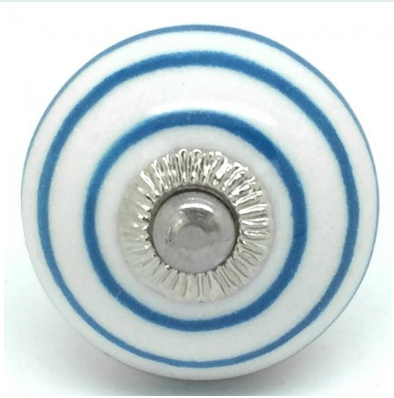 Door Knob - White with Marina Blue Stripes