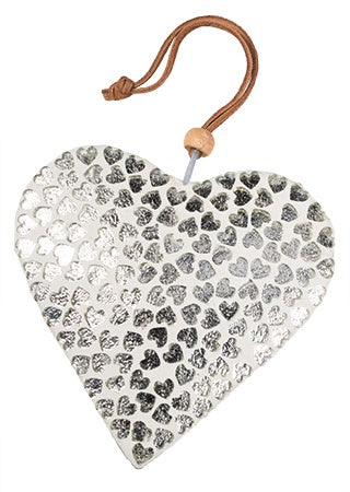 White Glass Heart with Silver Hearts