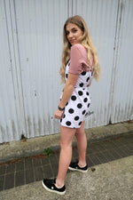 Neon Rose Polka Dot Button Down Playsuit