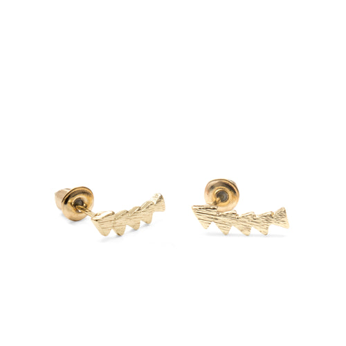 Gold Triangle Ear Climber Studs