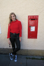Red Frill Hem Knitted Jumper