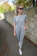 Grey Tie Waist Lounge Jumpsuit