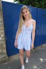Blue Stripe Button Front Strappy Playsuit
