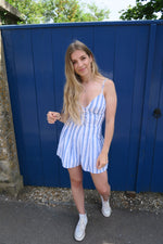 Blue Stripe Button Front Strappy Playsuit full length