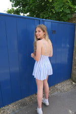 Blue Stripe Button Front Strappy Playsuit back