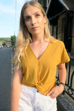 Mustard Ribbed Twist Front Top