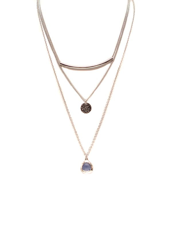 Silver Layered Coin + Gem Necklace