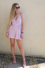 Lilac Grid Checked Wrap Playsuit without t-shirt