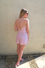 Lilac Grid Checked Wrap Playsuit back detail