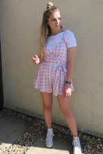 Lilac Grid Checked Wrap Playsuit