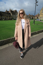 Rose Pink Wool Blend Oversized Coat