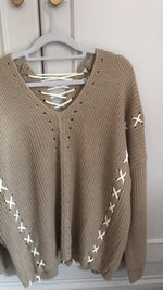 Beige Lace Tie Up Jumper