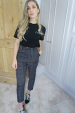 Checked Grey Belted Waist Trousers