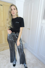 Metallic Silver Pleated Trousers