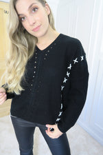 Black Lace Tie Up Jumper