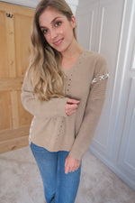 beige lace up jumper