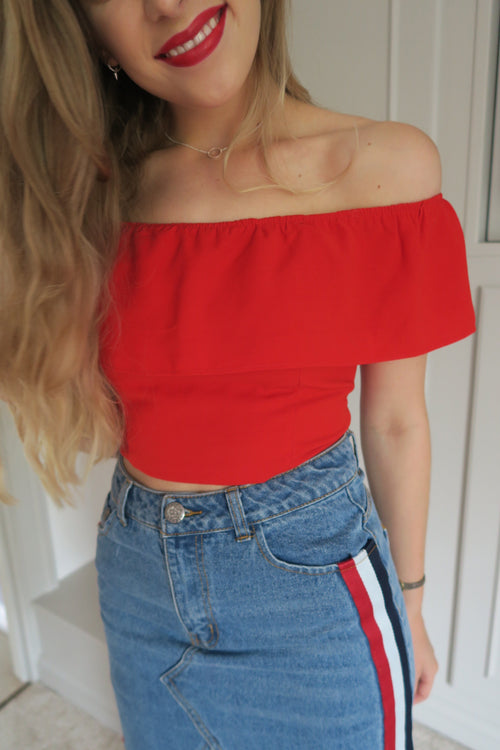 Goldie Bardot Red Crop Top